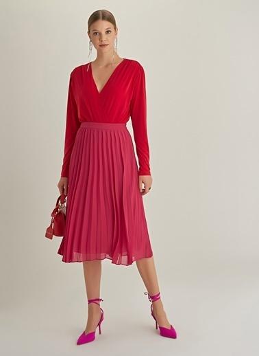 Ng Style Kruvaze Çıt Çıtlı Bluz Kırmızı